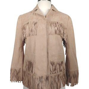 AU REVOIR Women's Suede Leather Blazer